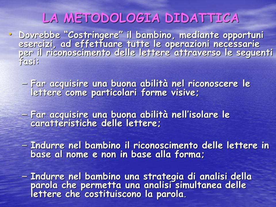 LA METODOLOGIA DIDATTICA Dovrebbe Costringere il bambino, mediante opportuni esercizi, ad effettuare tutte le operazioni necessarie per il riconoscime