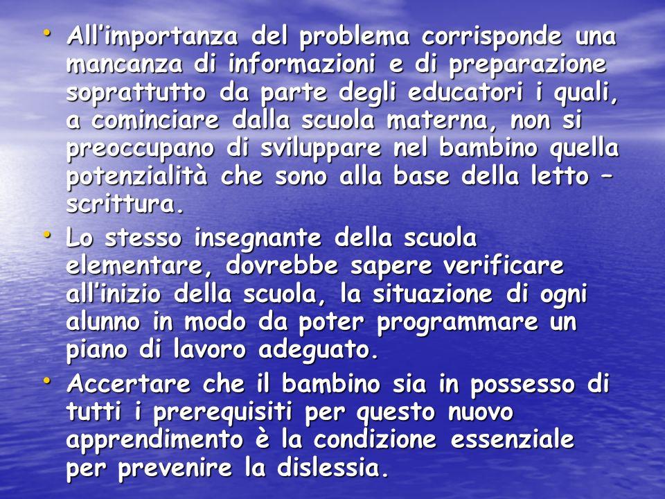 Allimportanza del problema corrisponde una mancanza di informazioni e di preparazione soprattutto da parte degli educatori i quali, a cominciare dalla