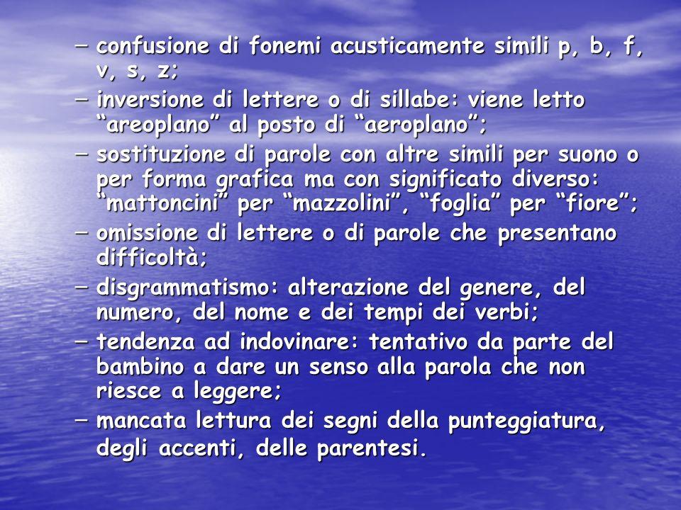 – confusione di fonemi acusticamente simili p, b, f, v, s, z; – inversione di lettere o di sillabe: viene letto areoplano al posto di aeroplano; – sos