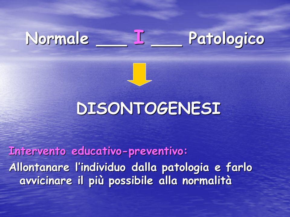 Normale ___ I ___ Patologico DISONTOGENESI DISONTOGENESI Intervento educativo-preventivo: Allontanare lindividuo dalla patologia e farlo avvicinare il