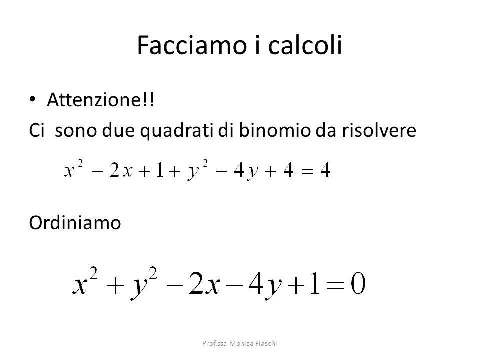 Esempio Trova lequazione della circonferenza di raggio r = 2 e centro C(1,2). Per prima cosa scrivo la formula che devo utilizzare Sostituisco in essa