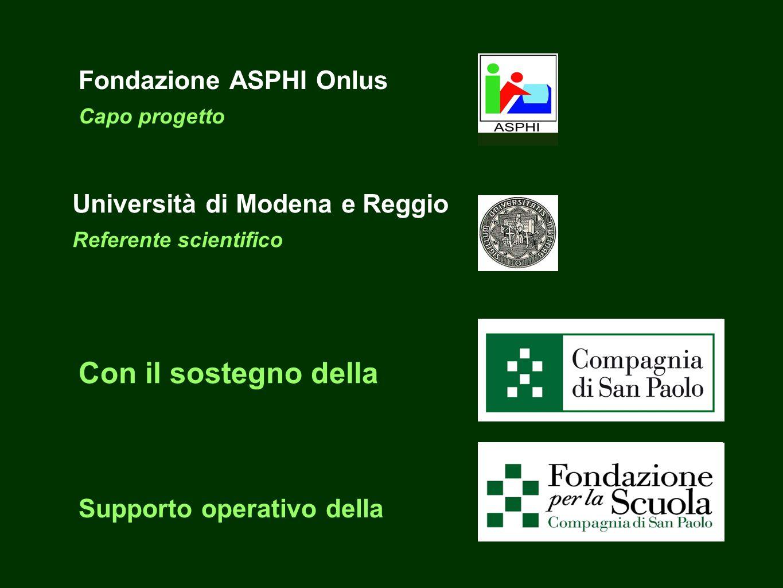 Fondazione ASPHI Onlus Capo progetto Università di Modena e Reggio Referente scientifico Con il sostegno della Supporto operativo della