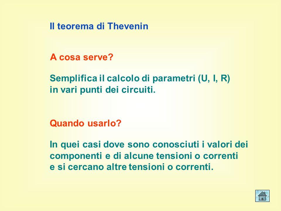 Il teorema di Thevenin 1 - a cosa serve? - quando usarlo? 3 - definizione della resistenza di Thevenin - definizione della tensione di Thevenin 2 - es