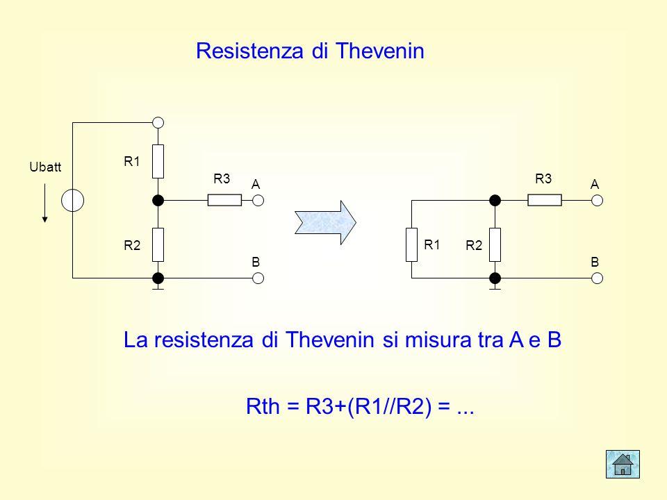 Resistenza di Thevenin R1 R2 R3 Ubatt A B R1 R2 R3 A B Rth = R3+(R1//R2) =...