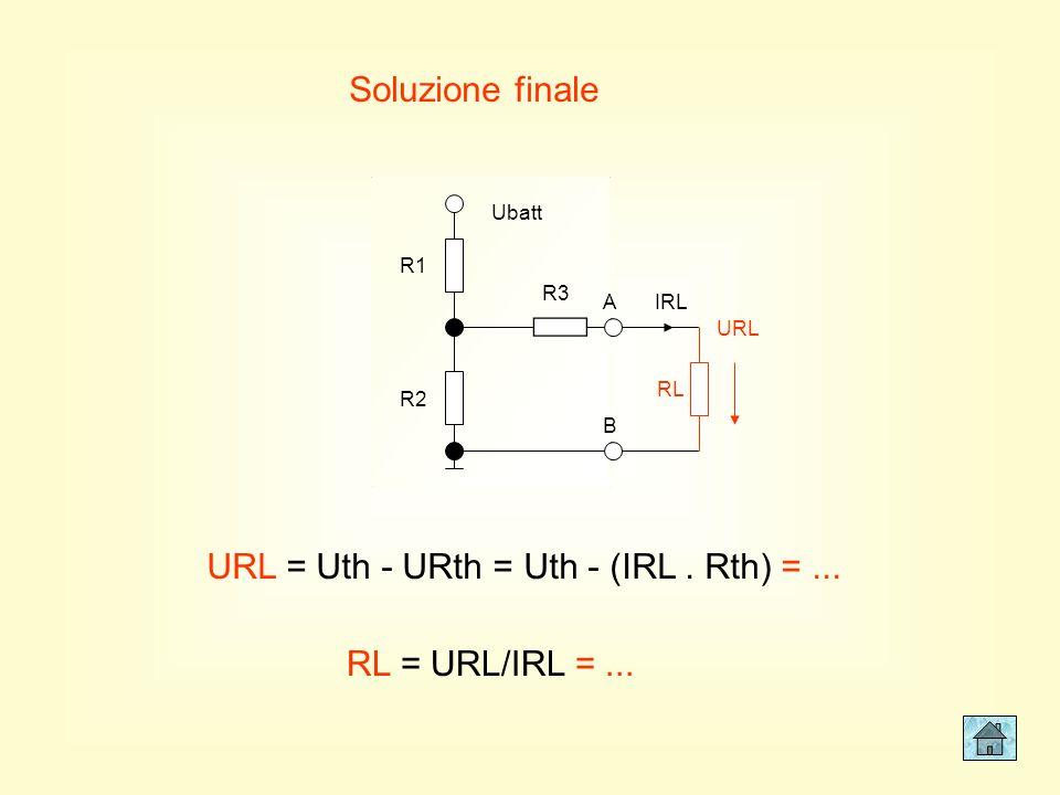 Resistenza di Thevenin R1 R2 R3 Ubatt A B R1 R2 R3 A B Rth = R3+(R1//R2) =... La resistenza di Thevenin si misura tra A e B