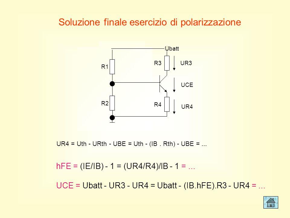 R1 R2 Ubatt A B R3 R4 A B Ubatt esempio B (seguito) Rth Uth circ. eq. Thevenin A B Levare il carico UAB = Uth UAB = Uth UAB a vuoto = Uth Uth = Ubatt.