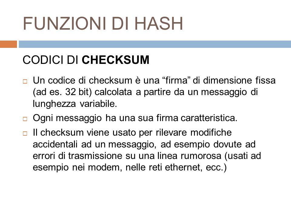 FUNZIONI DI HASH CODICI DI CHECKSUM Un codice di checksum è una firma di dimensione fissa (ad es. 32 bit) calcolata a partire da un messaggio di lungh