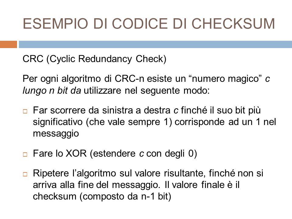 ESEMPIO DI CODICE DI CHECKSUM CRC (Cyclic Redundancy Check) Per ogni algoritmo di CRC-n esiste un numero magico c lungo n bit da utilizzare nel seguen