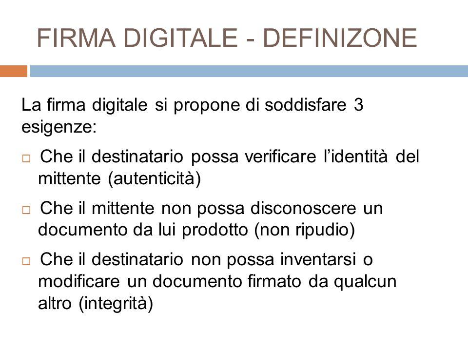 FIRMA DIGITALE - DEFINIZONE La firma digitale si propone di soddisfare 3 esigenze: Che il destinatario possa verificare lidentità del mittente (autent