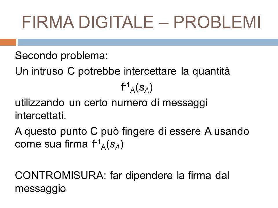 FIRMA DIGITALE – PROBLEMI Secondo problema: Un intruso C potrebbe intercettare la quantità f -1 A (s A ) utilizzando un certo numero di messaggi inter