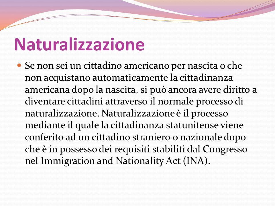 Naturalizzazione Se non sei un cittadino americano per nascita o che non acquistano automaticamente la cittadinanza americana dopo la nascita, si può