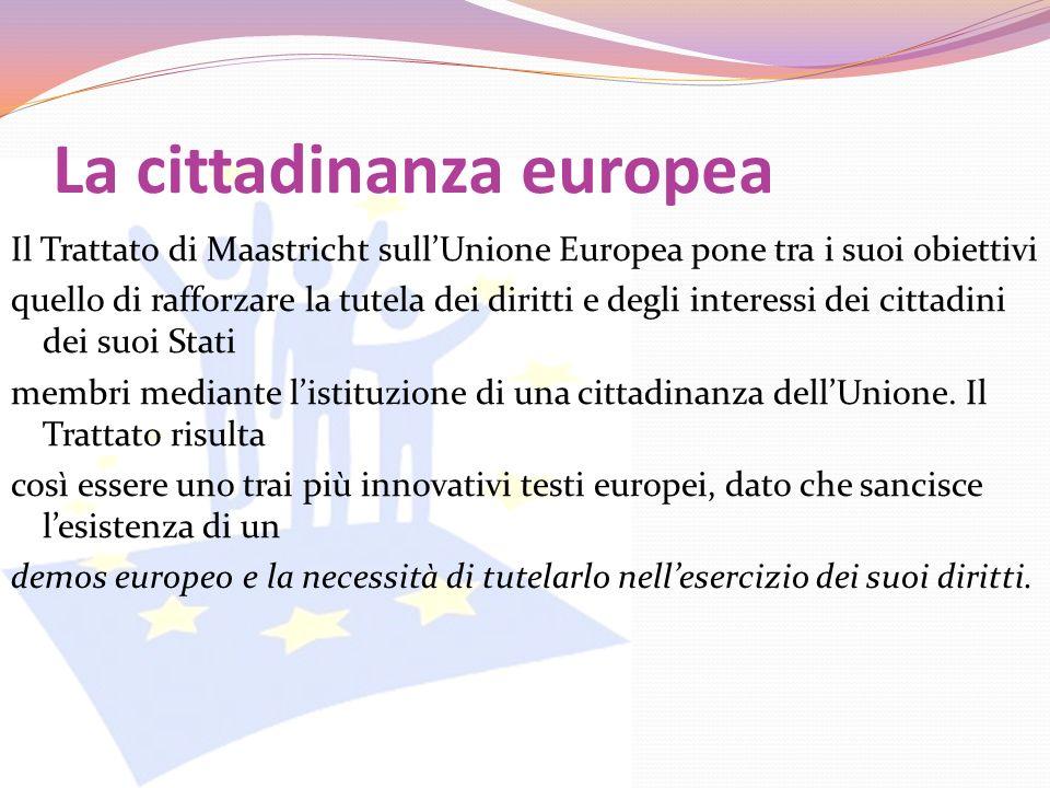 La cittadinanza europea Il Trattato di Maastricht sullUnione Europea pone tra i suoi obiettivi quello di rafforzare la tutela dei diritti e degli inte