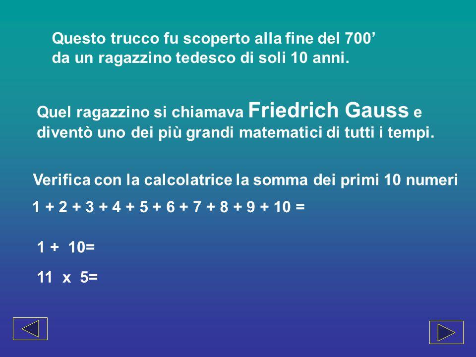 Applicando la regola di Gauss, prova a calcolare il risultato di questa lunga addizione 20+21+22+23+24+25+26+27+28+29=…… Ora prova con numeri non consecutivi e verifica se la regola è ancora valida 14+18+22+26+30+34+38+42+46+50= 29+30+33+35+37+40+41+44+46+50=