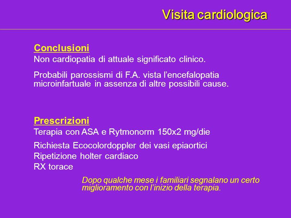 Visita cardiologica Prescrizioni Terapia con ASA e Rytmonorm 150x2 mg/die Richiesta Ecocolordoppler dei vasi epiaortici Ripetizione holter cardiaco RX