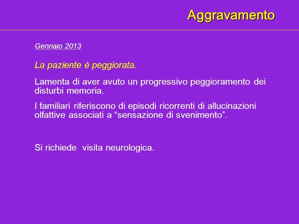Aggravamento Lamenta di aver avuto un progressivo peggioramento dei disturbi memoria. Gennaio 2013 I familiari riferiscono di episodi ricorrenti di al
