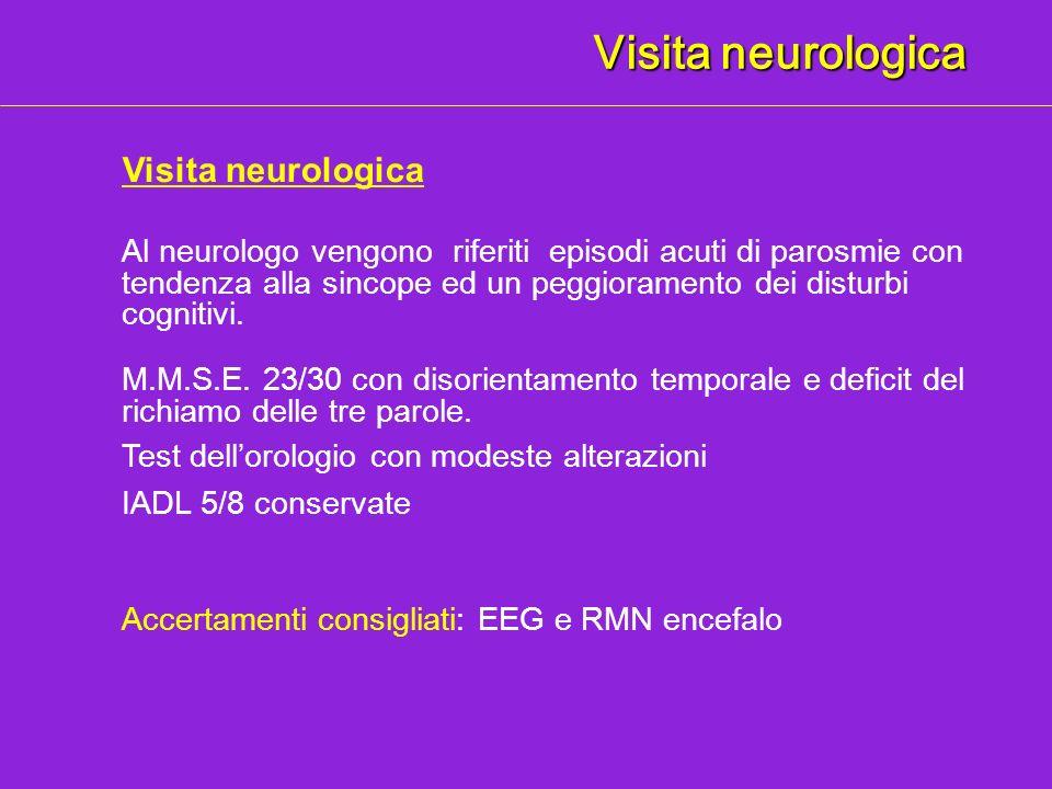 Visita neurologica M.M.S.E. 23/30 con disorientamento temporale e deficit del richiamo delle tre parole. Accertamenti consigliati: EEG e RMN encefalo