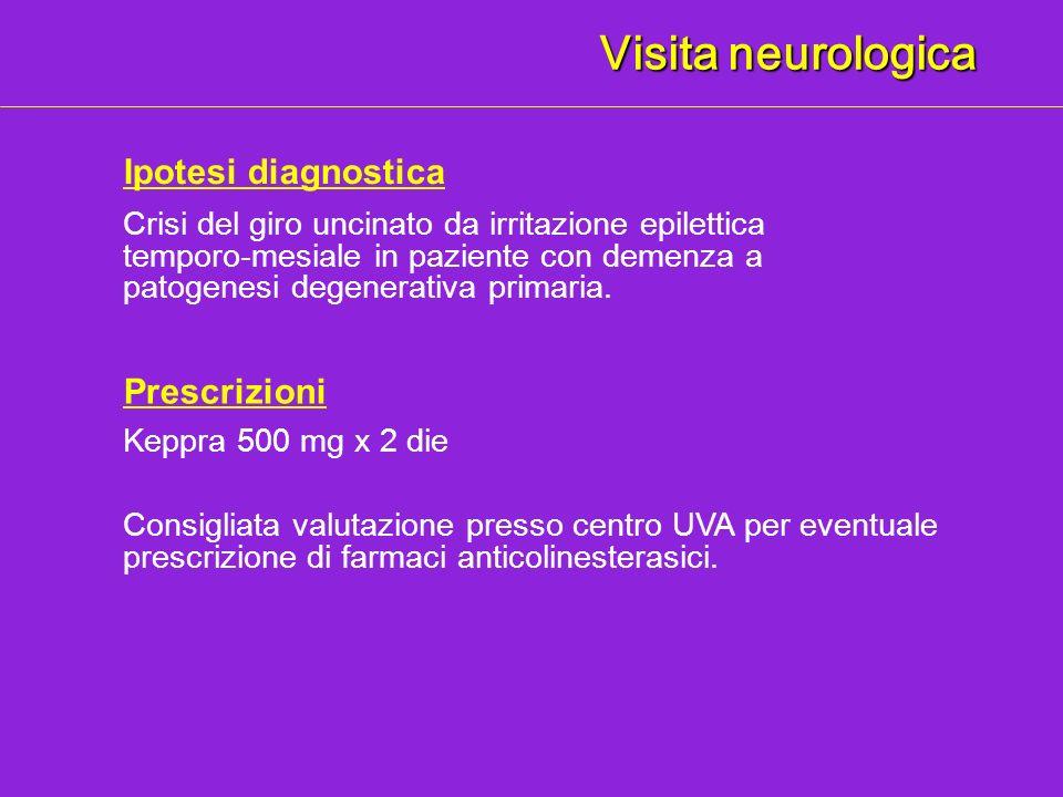 Visita neurologica Ipotesi diagnostica Crisi del giro uncinato da irritazione epilettica temporo-mesiale in paziente con demenza a patogenesi degenera
