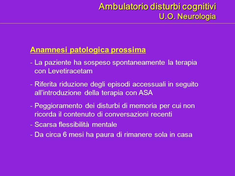 Anamnesi patologica prossima Ambulatorio disturbi cognitivi U.O. Neurologia -La paziente ha sospeso spontaneamente la terapia con Levetiracetam -Rifer
