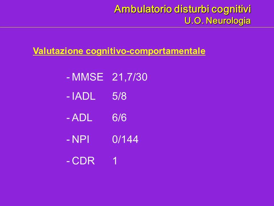 - MMSE21,7/30 - IADL5/8 - ADL 6/6 - NPI 0/144 - CDR1 Valutazione cognitivo-comportamentale Ambulatorio disturbi cognitivi U.O. Neurologia