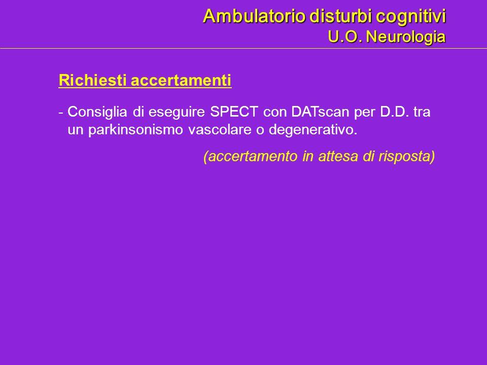 Ambulatorio disturbi cognitivi U.O. Neurologia Richiesti accertamenti -Consiglia di eseguire SPECT con DATscan per D.D. tra un parkinsonismo vascolare