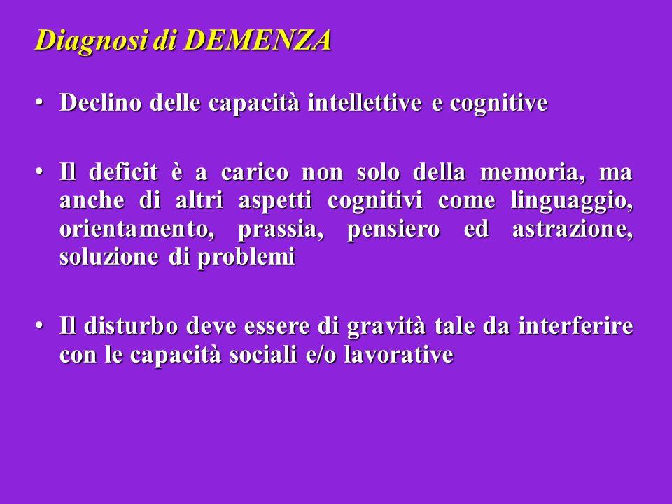 Diagnosi di DEMENZA Declino delle capacità intellettive e cognitive Declino delle capacità intellettive e cognitive Il deficit è a carico non solo del