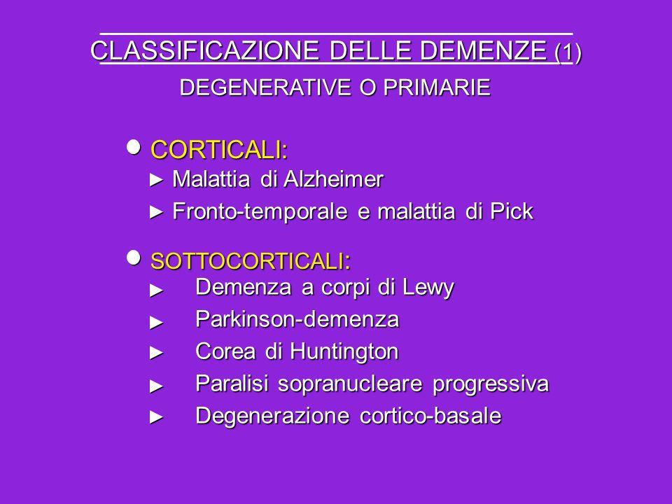 CLASSIFICAZIONE DELLE DEMENZE (1) CORTICALI: Malattia di Alzheimer Fronto-temporale e malattia di Pick SOTTOCORTICALI : Demenza a corpi di Lewy Parkin