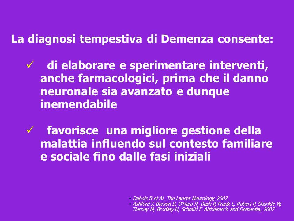 La diagnosi tempestiva di Demenza consente: di elaborare e sperimentare interventi, anche farmacologici, prima che il danno neuronale sia avanzato e d