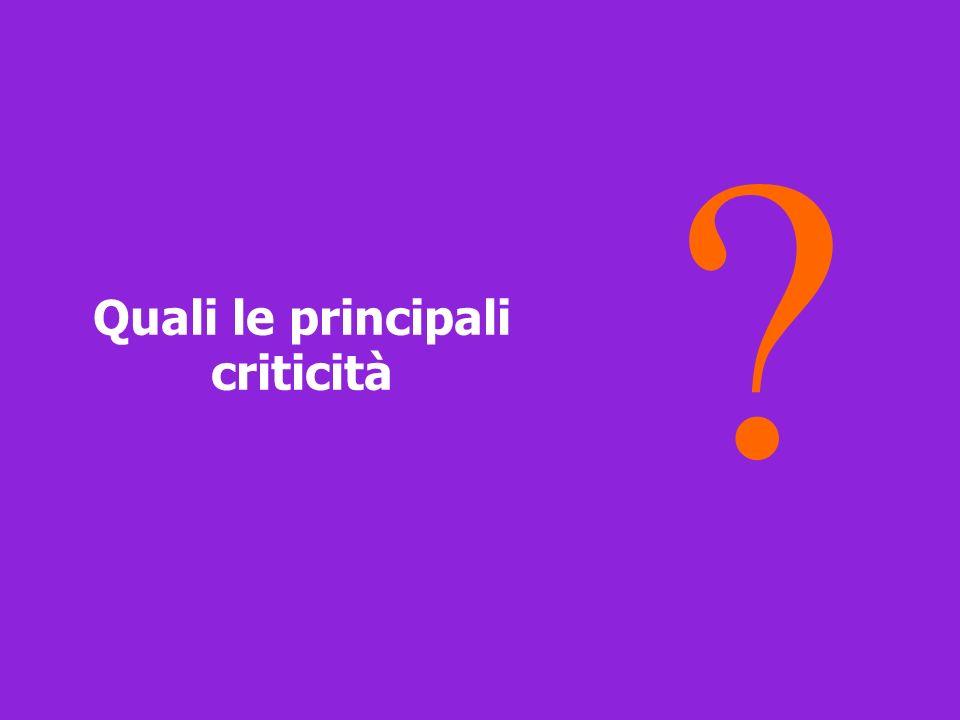 Quali le principali criticità ?