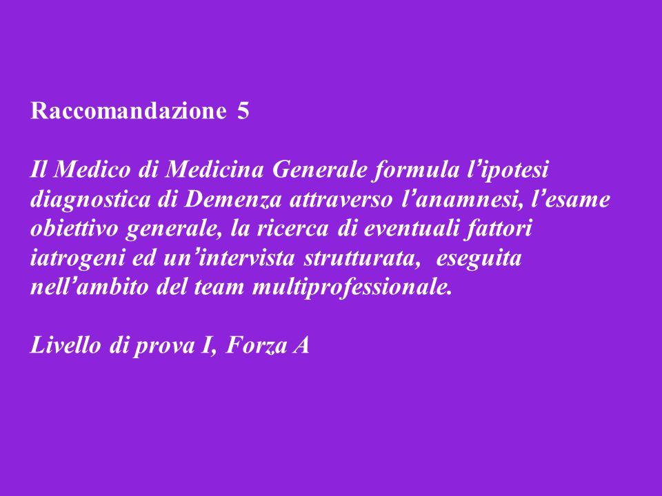 Raccomandazione 5 Il Medico di Medicina Generale formula l ipotesi diagnostica di Demenza attraverso l anamnesi, l esame obiettivo generale, la ricerc