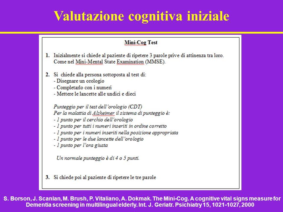 Valutazione cognitiva iniziale S. Borson, J. Scanlan, M. Brush, P. Vitaliano, A. Dokmak. The Mini-Cog. A cognitive vital signs measure for Dementia sc