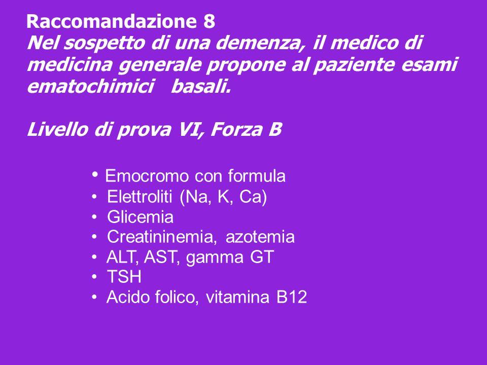 Emocromo con formula Elettroliti (Na, K, Ca) Glicemia Creatininemia, azotemia ALT, AST, gamma GT TSH Acido folico, vitamina B12 Raccomandazione 8 Nel
