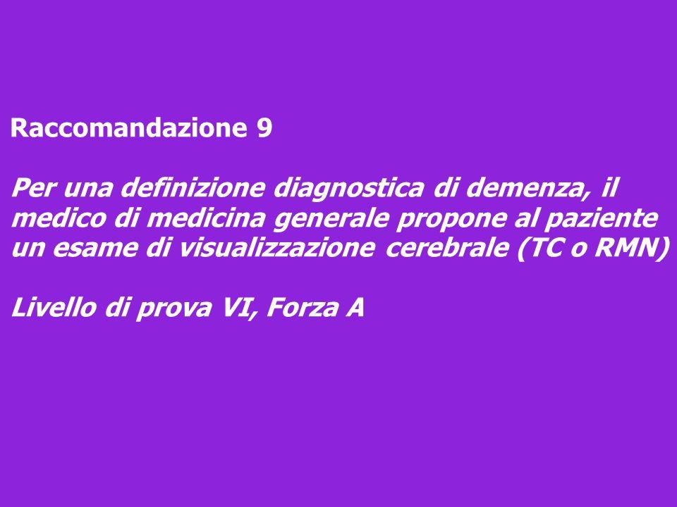 Raccomandazione 9 Per una definizione diagnostica di demenza, il medico di medicina generale propone al paziente un esame di visualizzazione cerebrale