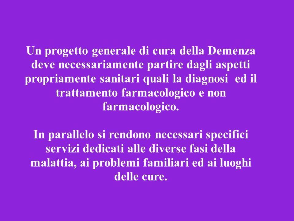 Un progetto generale di cura della Demenza deve necessariamente partire dagli aspetti propriamente sanitari quali la diagnosi ed il trattamento farmac