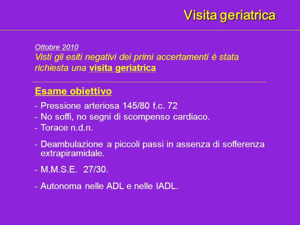 Visita geriatrica Esame obiettivo -Deambulazione a piccoli passi in assenza di sofferenza extrapiramidale. -Pressione arteriosa 145/80 f.c. 72 -No sof