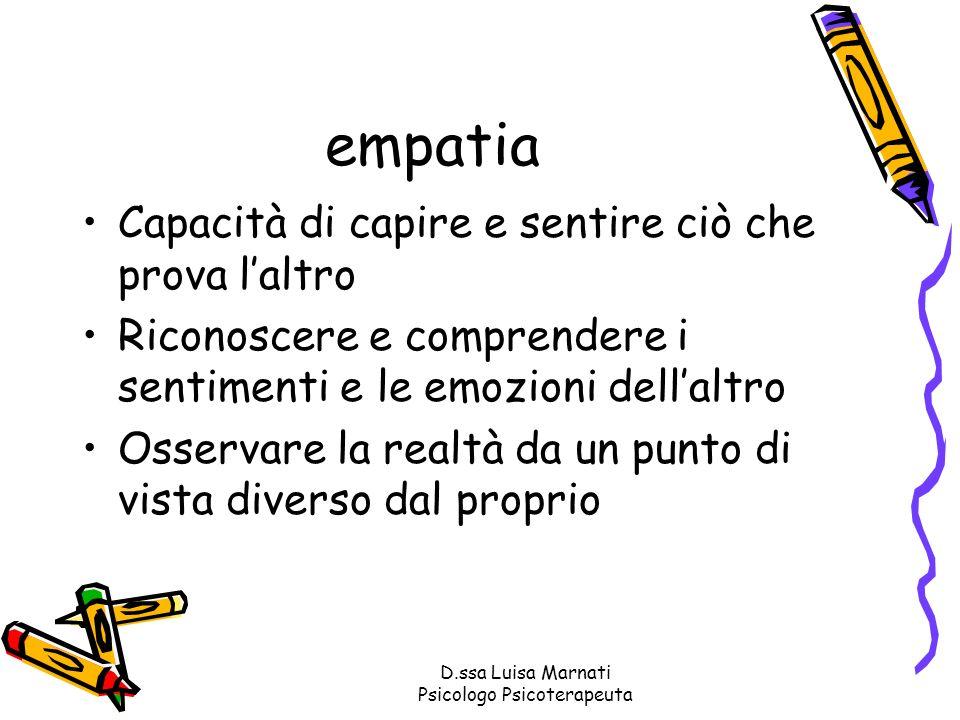 D.ssa Luisa Marnati Psicologo Psicoterapeuta empatia Capacità di capire e sentire ciò che prova laltro Riconoscere e comprendere i sentimenti e le emo
