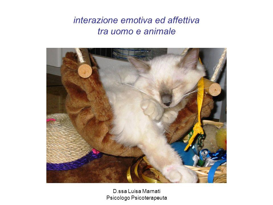 D.ssa Luisa Marnati Psicologo Psicoterapeuta interazione emotiva ed affettiva tra uomo e animale