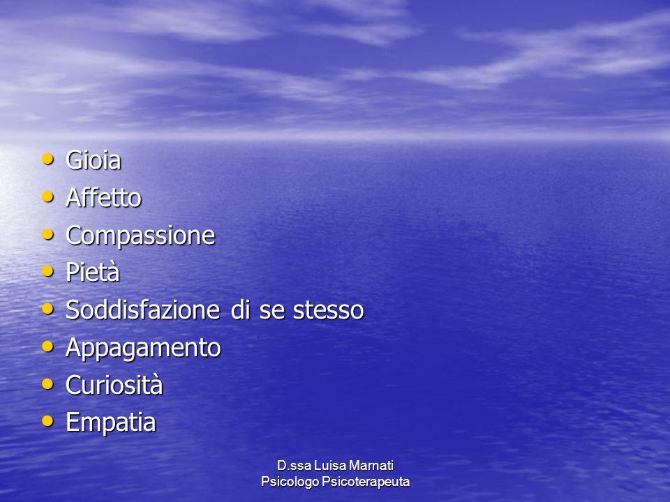 D.ssa Luisa Marnati Psicologo Psicoterapeuta Gioia Gioia Affetto Affetto Compassione Compassione Pietà Pietà Soddisfazione di se stesso Soddisfazione