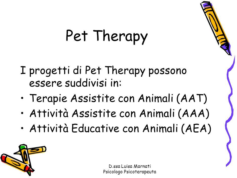D.ssa Luisa Marnati Psicologo Psicoterapeuta Pet Therapy I progetti di Pet Therapy possono essere suddivisi in: Terapie Assistite con Animali (AAT) At