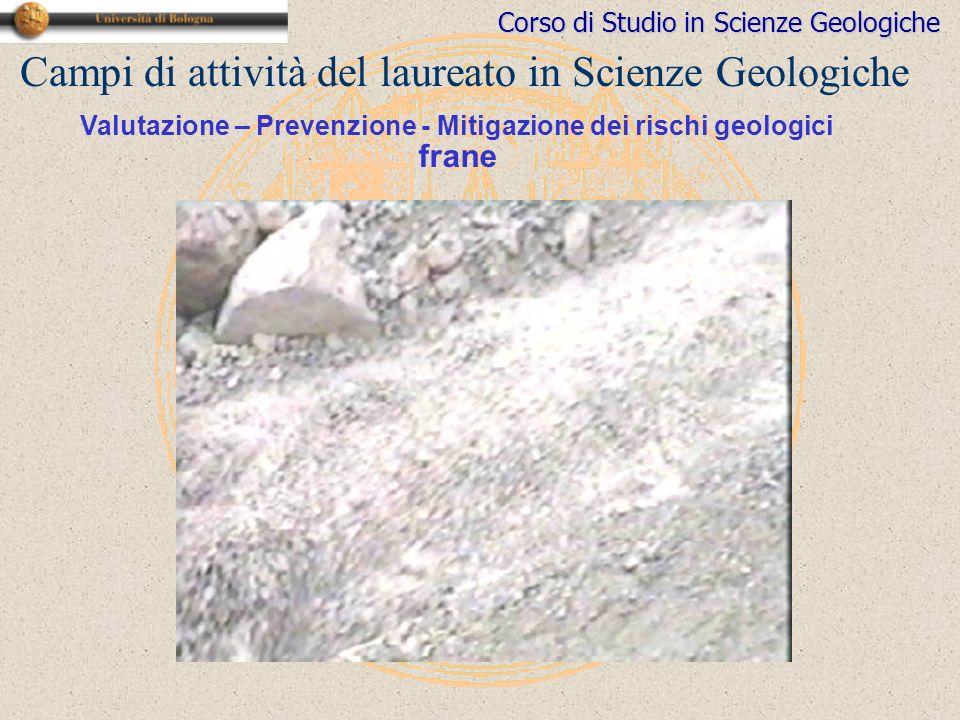 Corso di Studio in Scienze Geologiche Campi di attività del laureato in Scienze Geologiche Valutazione – Prevenzione - Mitigazione dei rischi geologici frane