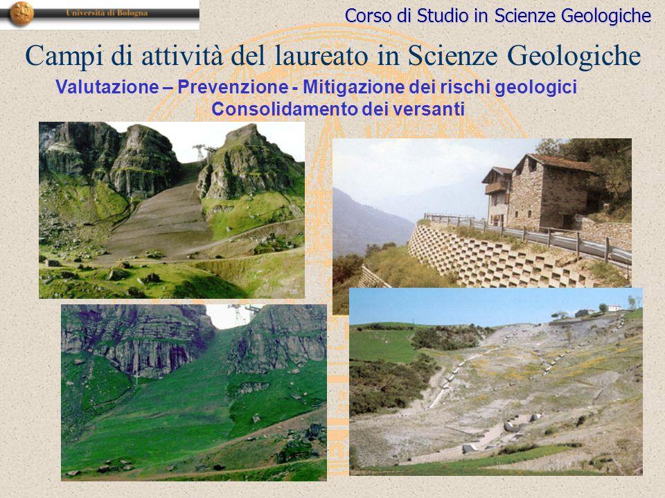Corso di Studio in Scienze Geologiche Campi di attività del laureato in Scienze Geologiche Consolidamento dei versanti Valutazione – Prevenzione - Mitigazione dei rischi geologici
