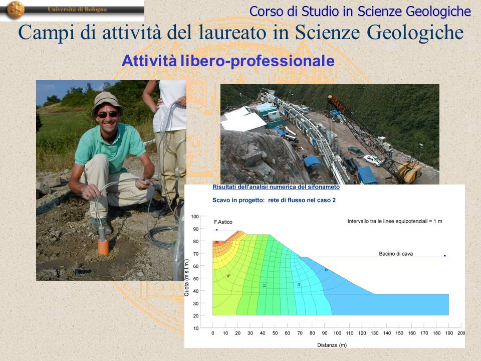Corso di Studio in Scienze Geologiche Attività libero-professionale Campi di attività del laureato in Scienze Geologiche