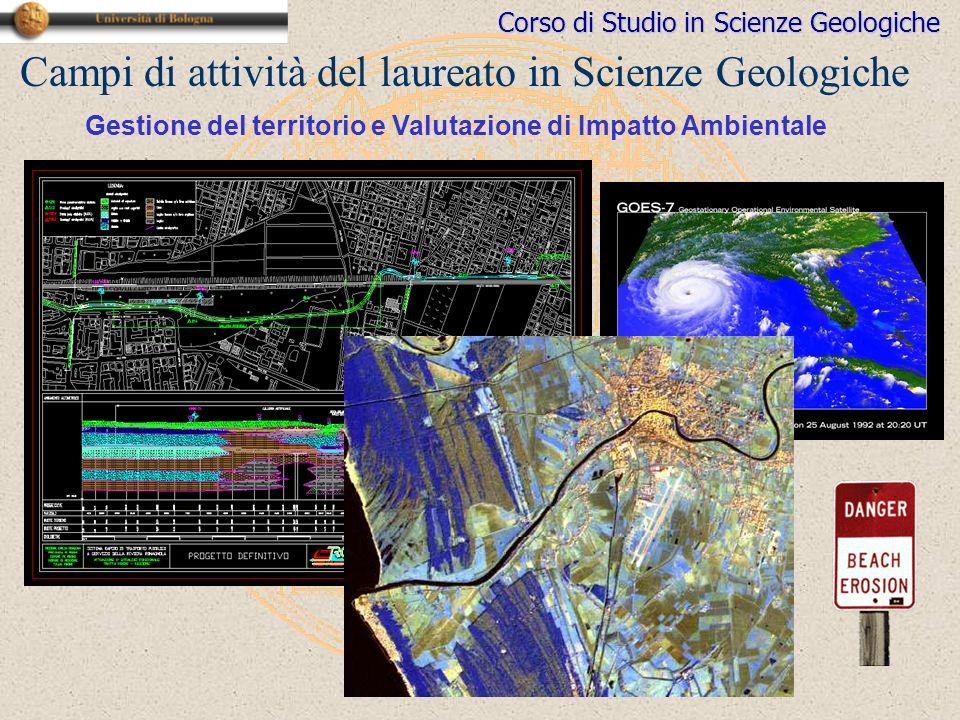 Corso di Studio in Scienze Geologiche Campi di attività del laureato in Scienze Geologiche Gestione del territorio e Valutazione di Impatto Ambientale