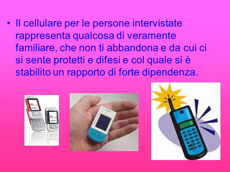 Il cellulare per le persone intervistate rappresenta qualcosa di veramente familiare, che non ti abbandona e da cui ci si sente protetti e difesi e col quale si è stabilito un rapporto di forte dipendenza.