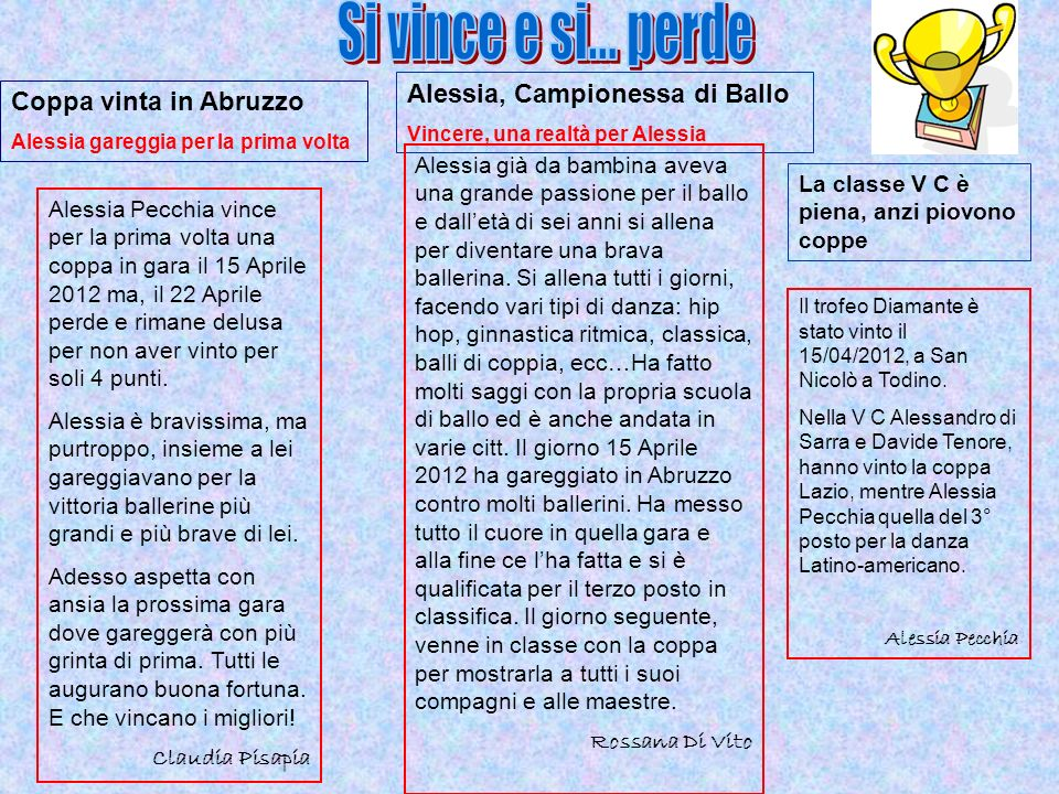 Alessia Pecchia vince per la prima volta una coppa in gara il 15 Aprile 2012 ma, il 22 Aprile perde e rimane delusa per non aver vinto per soli 4 punt