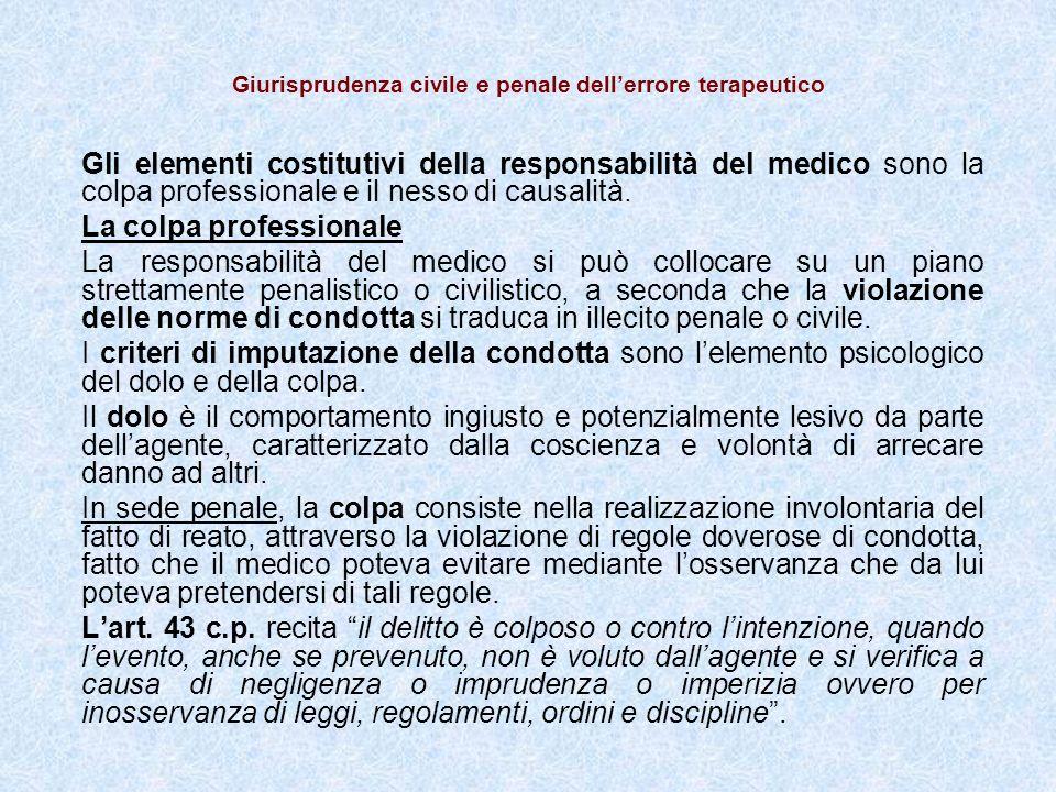 Giurisprudenza civile e penale dellerrore terapeutico Gli elementi costitutivi della responsabilità del medico sono la colpa professionale e il nesso di causalità.