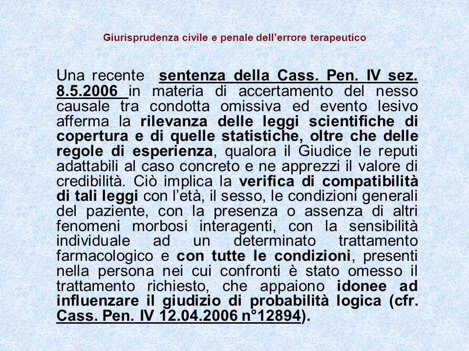 Giurisprudenza civile e penale dellerrore terapeutico Una recente sentenza della Cass.
