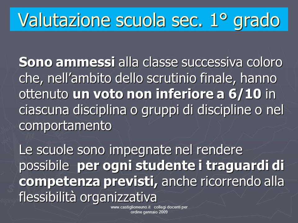 www.castiglioneuno.it collegi docenti per ordine gennaio 2009 Sono ammessi alla classe successiva coloro che, nellambito dello scrutinio finale, hanno