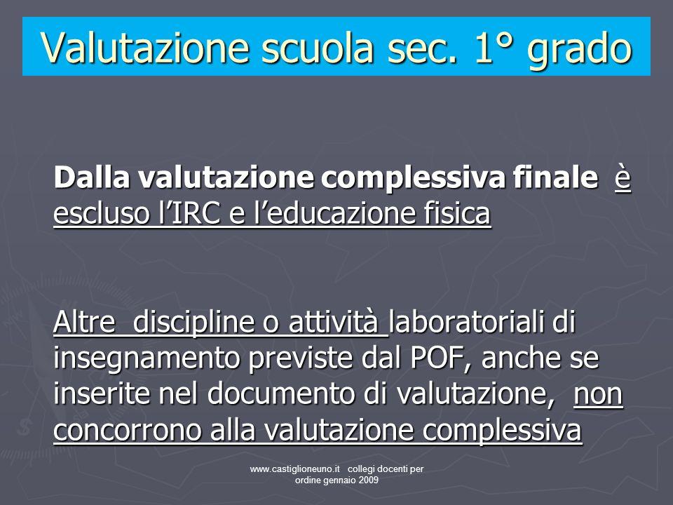 www.castiglioneuno.it collegi docenti per ordine gennaio 2009 Dalla valutazione complessiva finale è escluso lIRC e leducazione fisica Altre disciplin