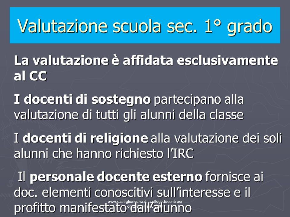 www.castiglioneuno.it collegi docenti per ordine gennaio 2009 La valutazione è affidata esclusivamente al CC I docenti di sostegno partecipano alla va