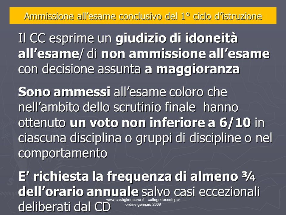 www.castiglioneuno.it collegi docenti per ordine gennaio 2009 Il CC esprime un giudizio di idoneità allesame/ di non ammissione allesame con decisione